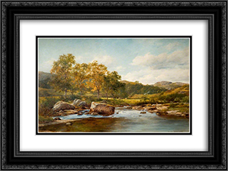 Stepping Stones on the Llugwy 24x18 Black or Gold Ornate Framed and Double Matted Art Print by David Bates