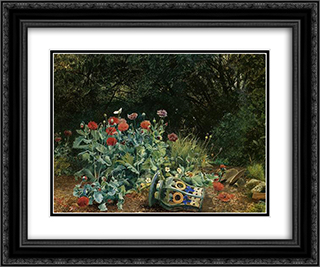 Summer flowers in a quiet corner of the garden 24x20 Black or Gold Ornate Framed and Double Matted Art Print by David Bates