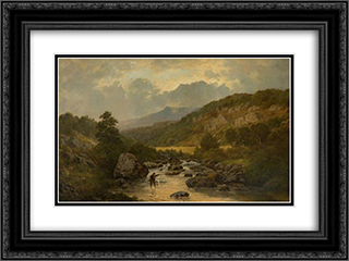 The Lledr Valley 24x18 Black or Gold Ornate Framed and Double Matted Art Print by David Bates