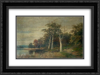 The Shores of Rydal Water, Cumbria 24x18 Black or Gold Ornate Framed and Double Matted Art Print by David Bates