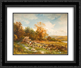 Tidal Fence on the River Conway, Bachlediog 24x20 Black or Gold Ornate Framed and Double Matted Art Print by David Bates