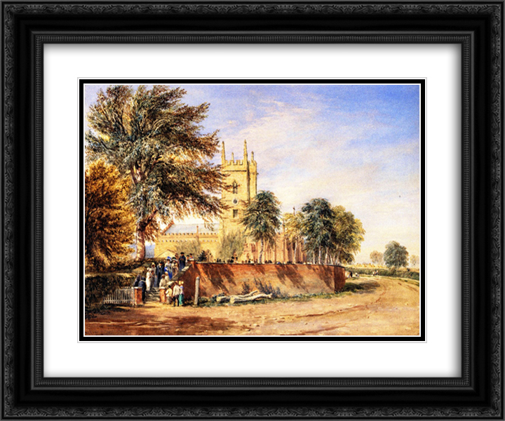 Handsworth Old Church, Birmingham 24x20 Black or Gold Ornate Framed and Double Matted Art Print by David Cox