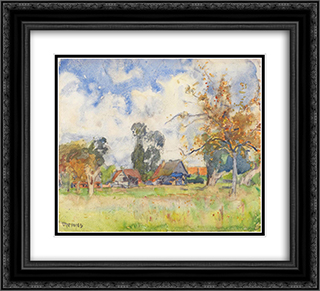 Autumn afternoon 22x20 Black or Gold Ornate Framed and Double Matted Art Print by David Davies