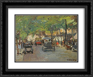 Cheltenham Promenade 24x20 Black or Gold Ornate Framed and Double Matted Art Print by David Davies
