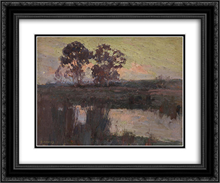 Nocturne, Templestowe 24x20 Black or Gold Ornate Framed and Double Matted Art Print by David Davies