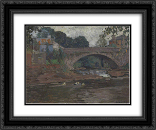 Senny Bridge 24x20 Black or Gold Ornate Framed and Double Matted Art Print by David Davies