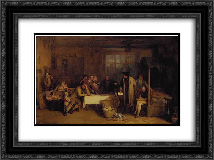 Distraining for Rent 24x18 Black or Gold Ornate Framed and Double Matted Art Print by David Wilkie