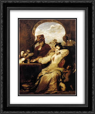 Josephine and the Fortune Teller 20x24 Black or Gold Ornate Framed and Double Matted Art Print by David Wilkie