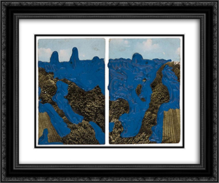 Postcard 24x20 Black or Gold Ornate Framed and Double Matted Art Print by Dieter Roth