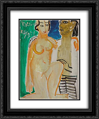 An Artist and His Model 20x24 Black or Gold Ornate Framed and Double Matted Art Print by Ding Yanyong