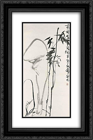 Bamboo and Rocks 16x24 Black or Gold Ornate Framed and Double Matted Art Print by Ding Yanyong