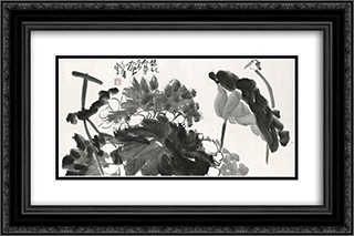 Bird and Lotus 24x16 Black or Gold Ornate Framed and Double Matted Art Print by Ding Yanyong