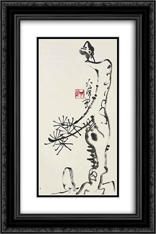 Bird on a Pine 16x24 Black or Gold Ornate Framed and Double Matted Art Print by Ding Yanyong