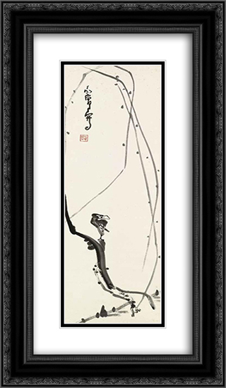 Bird on Willow Branch 14x24 Black or Gold Ornate Framed and Double Matted Art Print by Ding Yanyong