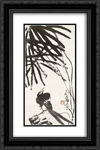 Bird under Tree 16x24 Black or Gold Ornate Framed and Double Matted Art Print by Ding Yanyong