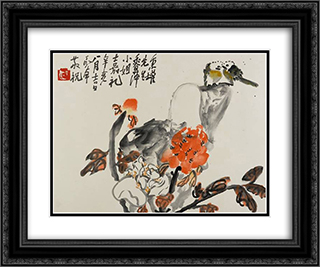Birds and Peonies (Lovebirds) 24x20 Black or Gold Ornate Framed and Double Matted Art Print by Ding Yanyong