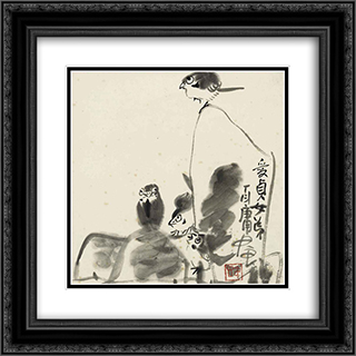 Birds and Rocks 20x20 Black or Gold Ornate Framed and Double Matted Art Print by Ding Yanyong