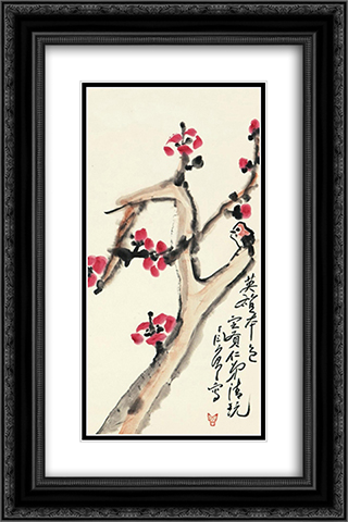 Camellia and bird 16x24 Black or Gold Ornate Framed and Double Matted Art Print by Ding Yanyong