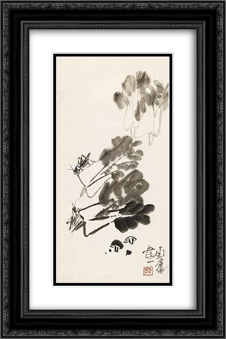 Chinese Cabbage and Crickets 16x24 Black or Gold Ornate Framed and Double Matted Art Print by Ding Yanyong