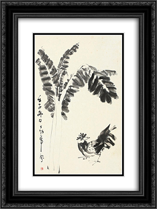 Cock and Banana Leaves 18x24 Black or Gold Ornate Framed and Double Matted Art Print by Ding Yanyong