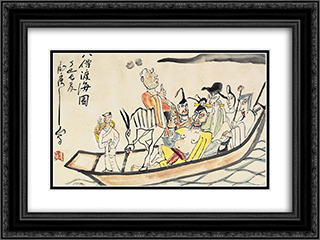 Eight Immortals 24x18 Black or Gold Ornate Framed and Double Matted Art Print by Ding Yanyong