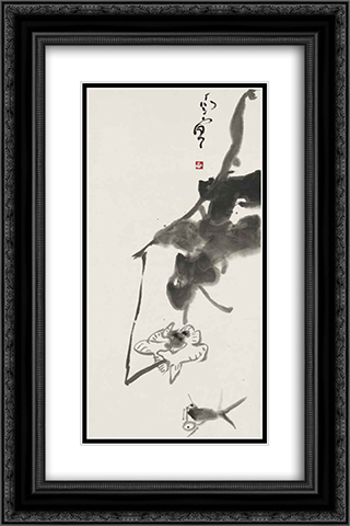 Fish and Lotus 16x24 Black or Gold Ornate Framed and Double Matted Art Print by Ding Yanyong