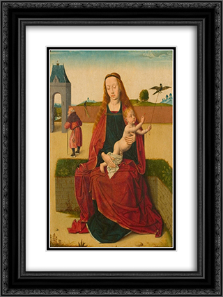 Madonna and Child on a grass bench 18x24 Black or Gold Ornate Framed and Double Matted Art Print by Dirk Bouts