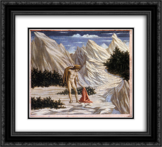 St. John in the Desert 22x20 Black or Gold Ornate Framed and Double Matted Art Print by Domenico Veneziano