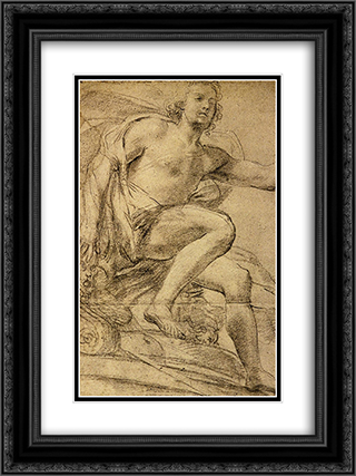 Study of Apollo 18x24 Black or Gold Ornate Framed and Double Matted Art Print by Domenico Veneziano