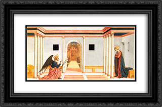 The Annunciation, predella panel from the St. Lucy Altarpiece 24x16 Black or Gold Ornate Framed and Double Matted Art Print by Domenico Veneziano