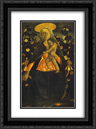 Virgin and Child 18x24 Black or Gold Ornate Framed and Double Matted Art Print by Domenico Veneziano