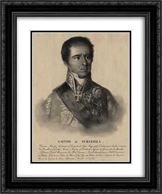Manuel Inacio Martins Pamplona Corte Real, count of Subserra 20x24 Black or Gold Ornate Framed and Double Matted Art Print by Domingos Sequeira