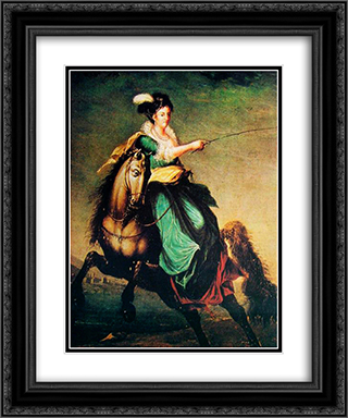 Retrato equestre de Carlota Joaquina of Spain 20x24 Black or Gold Ornate Framed and Double Matted Art Print by Domingos Sequeira
