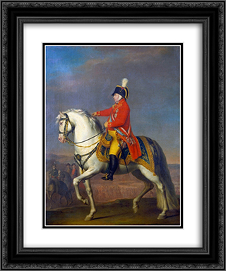 Retrato equestre de Joo V de Portugal 20x24 Black or Gold Ornate Framed and Double Matted Art Print by Domingos Sequeira