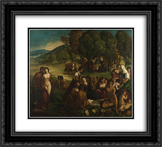A Bacchanal 22x20 Black or Gold Ornate Framed and Double Matted Art Print by Dosso Dossi