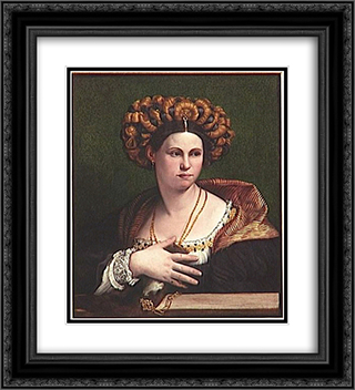 A woman 20x22 Black or Gold Ornate Framed and Double Matted Art Print by Dosso Dossi