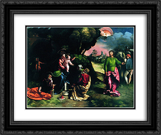 Adoration of the Magi 24x20 Black or Gold Ornate Framed and Double Matted Art Print by Dosso Dossi