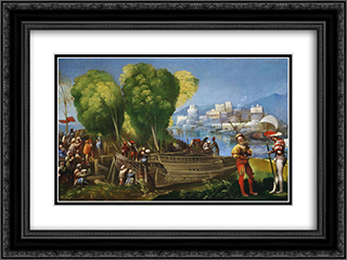 Aeneas and Achates on the Libyan Coast 24x18 Black or Gold Ornate Framed and Double Matted Art Print by Dosso Dossi