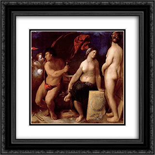 Allegory of Music 20x20 Black or Gold Ornate Framed and Double Matted Art Print by Dosso Dossi