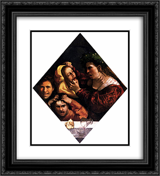 Anger or the Tussle 20x22 Black or Gold Ornate Framed and Double Matted Art Print by Dosso Dossi