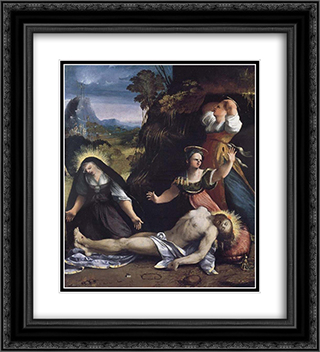Lamentation over the Body of Christ 20x22 Black or Gold Ornate Framed and Double Matted Art Print by Dosso Dossi
