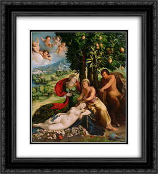 Mythological Scene 20x22 Black or Gold Ornate Framed and Double Matted Art Print by Dosso Dossi