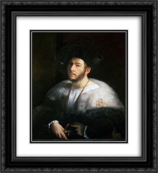 Portrait of a Man (probably Cesare Borgia) 20x22 Black or Gold Ornate Framed and Double Matted Art Print by Dosso Dossi
