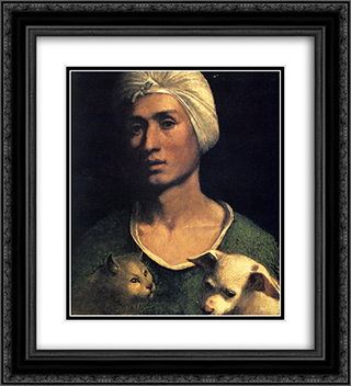Portrait of a young man with a dog and a cat 20x22 Black or Gold Ornate Framed and Double Matted Art Print by Dosso Dossi