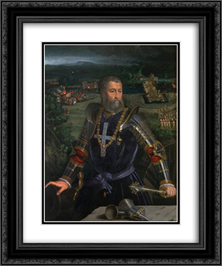 Portrait of Alfonso I d'Este 20x24 Black or Gold Ornate Framed and Double Matted Art Print by Dosso Dossi