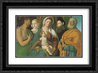 Sacra Conversazione 24x18 Black or Gold Ornate Framed and Double Matted Art Print by Dosso Dossi