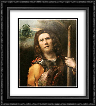 Saint George 20x22 Black or Gold Ornate Framed and Double Matted Art Print by Dosso Dossi