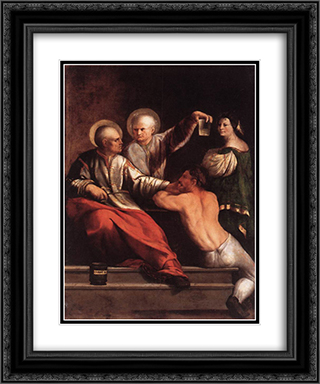 St Cosmas and St Damian 20x24 Black or Gold Ornate Framed and Double Matted Art Print by Dosso Dossi