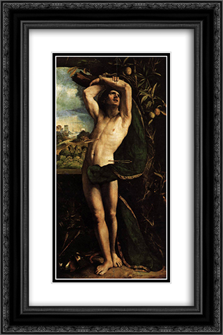 St Sebastian 16x24 Black or Gold Ornate Framed and Double Matted Art Print by Dosso Dossi