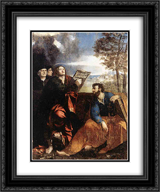 Sts John and Bartholomew with Donors 20x24 Black or Gold Ornate Framed and Double Matted Art Print by Dosso Dossi